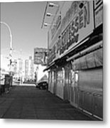 Sidewalks Of Gum In Black And White Metal Print