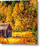 Sierra Nevada Aspen Fall Colors With Rustic Barn Metal Print by Scott McGuire