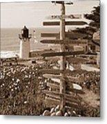 Sign At Point Montara Lighthouse - Sepia Metal Print