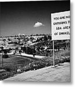 sign overlooking pyla and turkish controlled territory marking entrance of SBA Sovereign Base area Metal Print