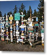 Sign Posts Forest In Watson Lake Yukon Metal Print by Mark Duffy