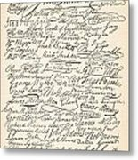 Signatures Attached To The American Declaration Of Independence Of 1776 Metal Print