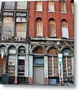 Silent City Store Fronts Metal Print