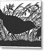Silhouette: Bird & Insect Metal Print