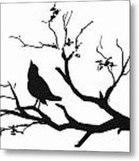 Silhouette Bird On Branch - To License For Professional Use Visit Granger.com Metal Print