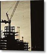 Silhouette Crane At A Skyscraper Metal Print