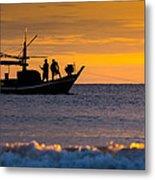 Silhouette Fisherman On Boat In Sunset Huahin Metal Print