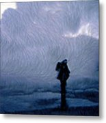 Silhouette In The Fog Metal Print