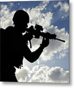 Silhouette Of A Soldier Metal Print