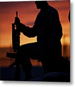 Silhouette Of A U.s Marine On A Bunker Metal Print