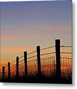 Silhouette Of Barbed Wire Fence Metal Print