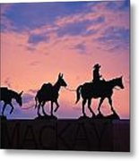 Silhouette Of Donkey Train Statue Metal Print