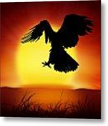 Silhouette Of Eagle Metal Print