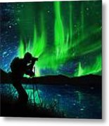 Silhouette Of Photographer Shooting Stars Metal Print