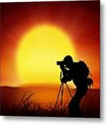 Silhouette Of Photographer With Big Sun  Metal Print