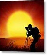 Silhouette Of Photographer With Big Sun  Metal Print