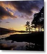 Silhouette Of Trees On The Riverbank Metal Print