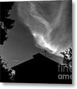 Silhouetted House And Clouds Metal Print