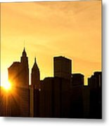 Silhouetted Manhattan  Metal Print