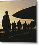 Silhouetted Military Personnel Metal Print