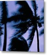 Silhouetted Palm Trees Blow In The Wind Metal Print