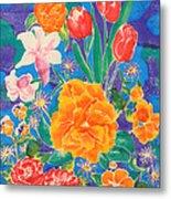 Silk Blooming Flowers Metal Print by Sandra Fox