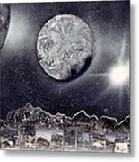 Silver And Black Space City Metal Print