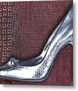 Silver Crocodile Pump Metal Print
