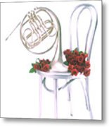 Silver French Horn On Silver Chair Metal Print