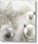 Silver Holiday Ornaments In Feathers Metal Print