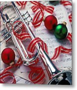 Silver Trumper And Christmas Ornaments Metal Print