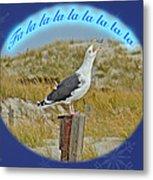Singing Seagull Christmas Card Metal Print