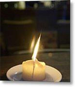 Single Candle Flame, Defocussed Metal Print