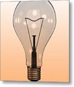 Single Light Bulb On Coloured Background Metal Print