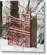 Single Red Gate Metal Print