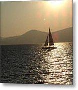 Single Sailboat Metal Print