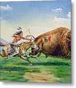 Sioux Hunting Buffalo On Decorated Pony Metal Print