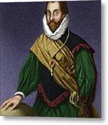 Sir Francis Drake, English Explorer Metal Print by Maria Platt-evans