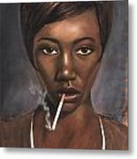 Sister With Cigarette Metal Print