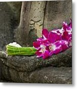 Sitting Buddha In Meditation Position With Fresh Orchid Flowers Metal Print