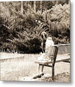 Sitting On The Bench Metal Print