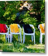 Six Summer Chairs Metal Print