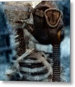 Skeleton In Gas Mask Metal Print