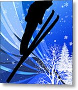 Ski Jumping In The Snow Metal Print