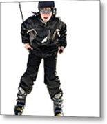 Skier Flying Metal Print