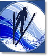 Skiing And Snowflakes Metal Print