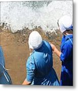 Skipping Stones In The Surf Metal Print by MB Matthews