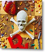 Skull And Bones With Medical Icons Metal Print by Garry Gay