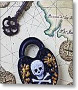 Skull And Cross Bones Lock Metal Print