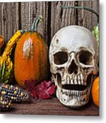Skull And Gourds Metal Print